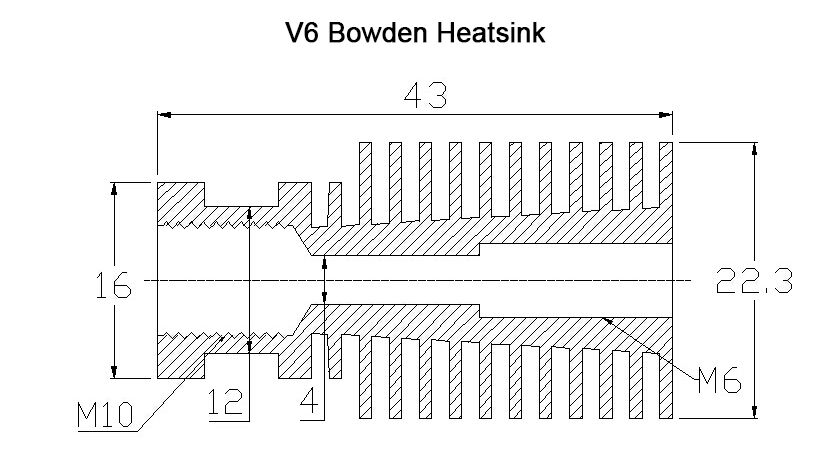 V6 Bowden Heatsink 1.75-3.0mm
