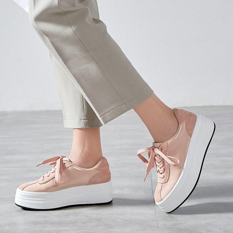 Chaussures Cuir Femmes Rose Nouvelles Mocassins Véritable De Lacets Creepers Baskets forme Plats Décontracté blanc Bas 2019 Plate Dames Épais Plat 86qAAw