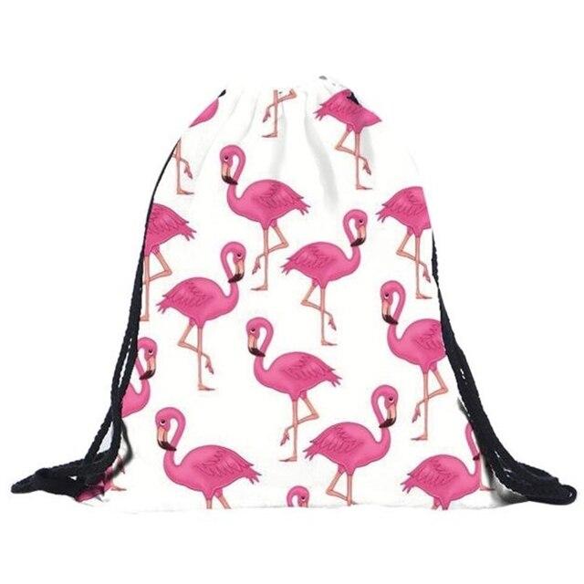 ¡Oferta! mochilas Unisex con estampado de flamencos en 3D para hombre y mujer, mochila con cordón y cordón para mujer