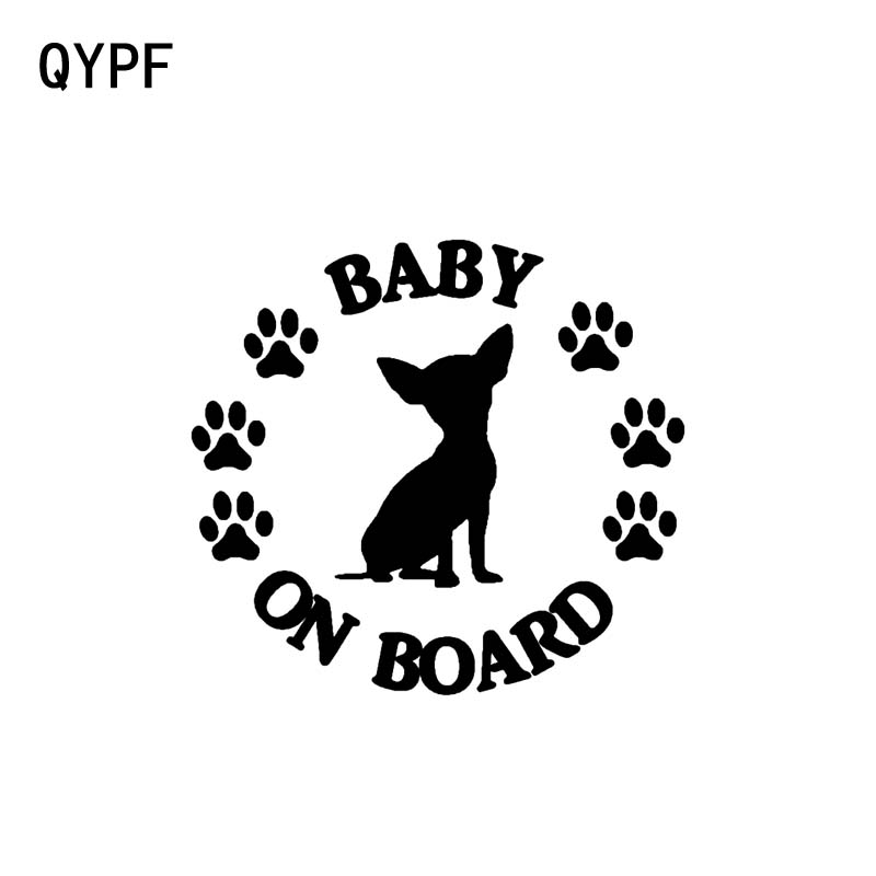 QYPF 14CM*12.8CM BABY ON BOARD Chihuahua Dog Vinyl Motorcycle Car Sticker Decal Black Sliver C14-0228