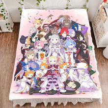 Anime Re Zero Emilia Ram Rem Otaku Bed Sheet Throw Blanket Bedding Coverlet Gifts