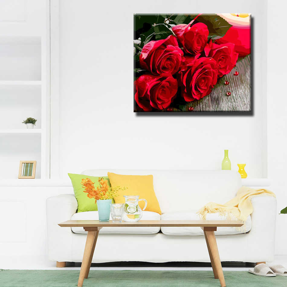 WEEN Blooming rose flower-Oil Paint By Numbers kit for adults, Acrylic Paint,Canvas Painting For Artwork Modern Wall Art Picture
