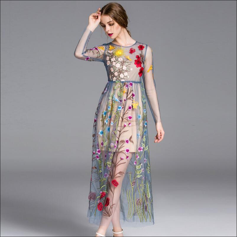Длинные платья с вышивкой фото