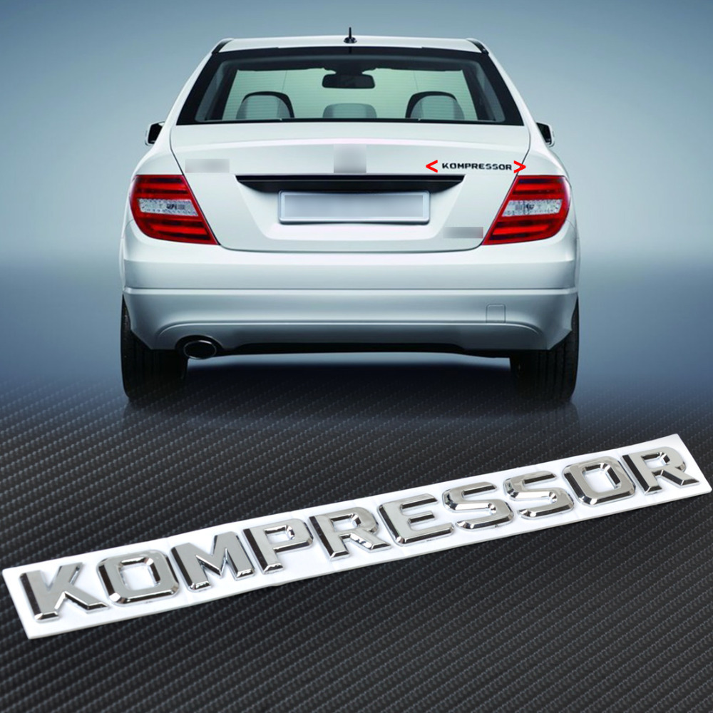 New 3D Chrome KOMPRESSOR Badge Emblem Sticker for Mercedes-Benz SLK CLK SL CLS ML GL A B C E Benz S Class