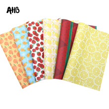 AHB Synthetic Leather Sheets Summer Fruits Faux Leather For Bows Pineapple Printed Vinyl DIY Hairbows Handmade Crafts Materials цена и фото
