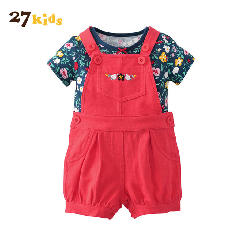27Kids Baby Girl Clothes Summer Baby Girls Suit Short Sleeve T Shirt Tops + Short 2PCS Set Children's Fashion Clothing Set summer 2017 newborn baby boy clothes short sleeve cotton t shirt tops geometric pant 2pcs outfit toddler baby girl clothing set