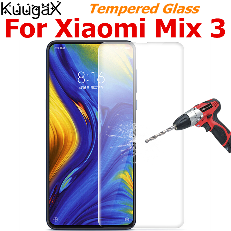 Tempered Glass For Original <font><b>Xiaomi</b></font> Mi Mix 3 6GB RAM <font><b>128GB</b></font> ROM mix3 9H smart phone Screen Protector Film on Toughened display image