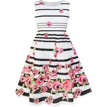 Girls Purple Rose Flower Double Bow Tie Party Dress