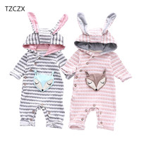 TZCZX 1pcs New Children Baby Boys Girls Rompers Novelty Cartoon Rabbit Ear Hooded Jumpsuit For 3