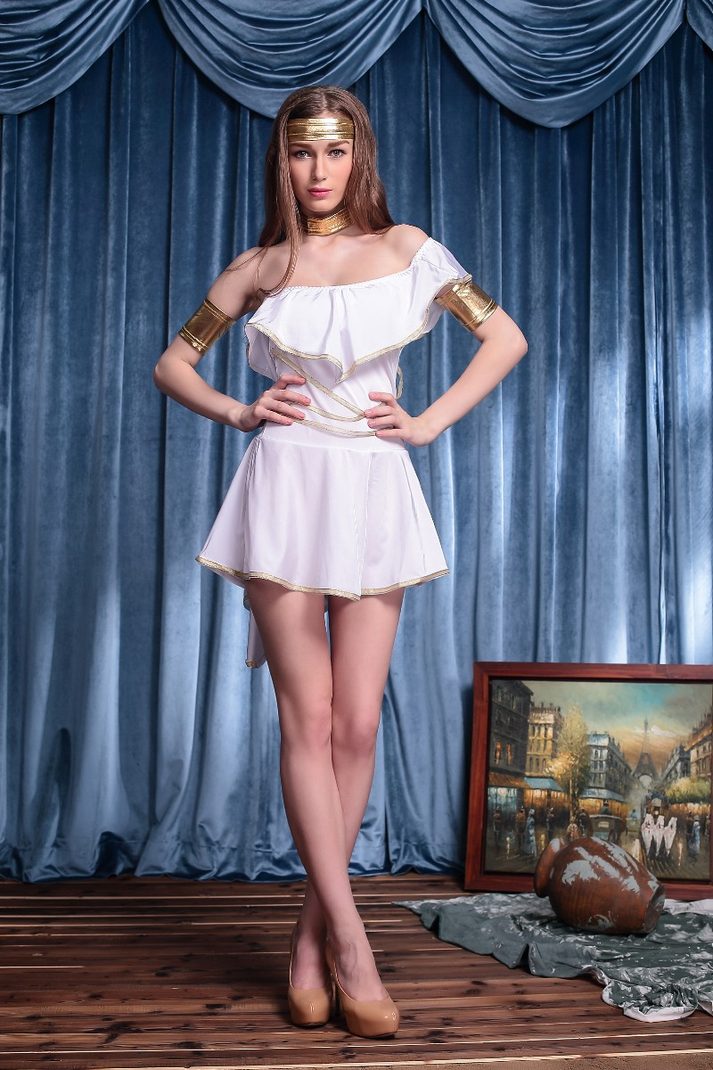 Women Sexy White Greek Goddess Costume Halloween Party Mythology Princess Goddess Fantasia Cosplay Fancy Dress