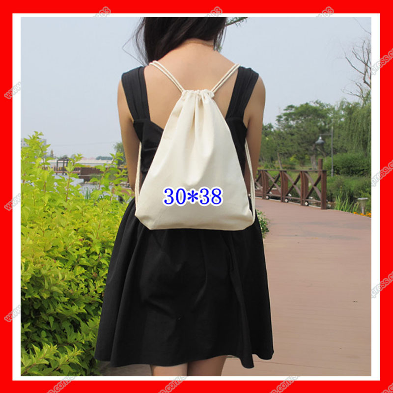 (300pcs/lot) size 30x38cm 12oz blank black cotton canvas drawstring backpack with logo custom