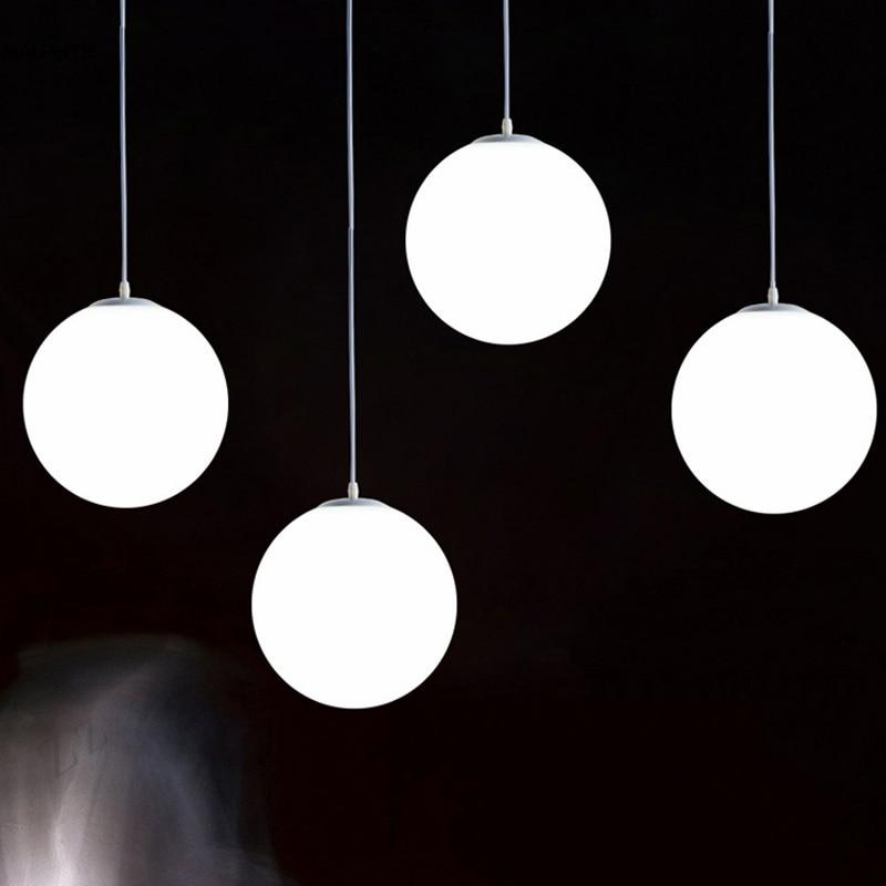 Modern White Glass Globe Pendant Light Bedroom Restaurant Nordic Lamp Milk Ball Suspension Industrial Deco LED Lighting Fixtures