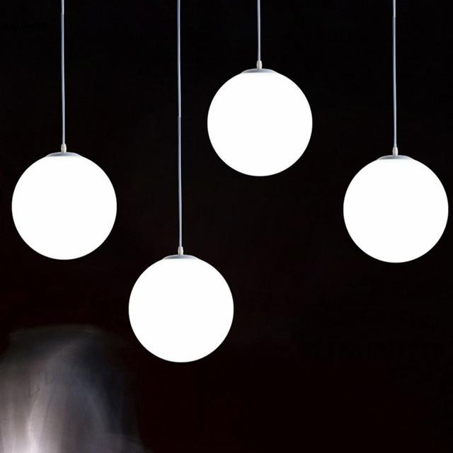 Modern White Gl Globe Pendant Light Bedroom Restaurant Nordic Lamp Milk Ball Suspension Deco Led