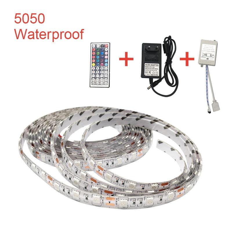 SMD 5050 12V LED Light Strip PC RGB 60Led/s 5M 12 V Volt LED Strip Lights Waterproof Lamp TV Backlight RibbonSMD 5050 12V LED Light Strip PC RGB 60Led/s 5M 12 V Volt LED Strip Lights Waterproof Lamp TV Backlight Ribbon
