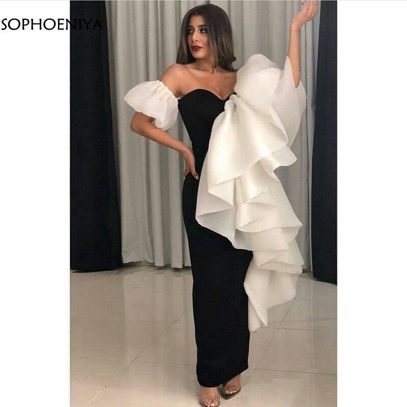 New Arrival Black white evening dress 2019 Dubai Arabic Formal dress Party abendkleider Ankle length evening dresses Long