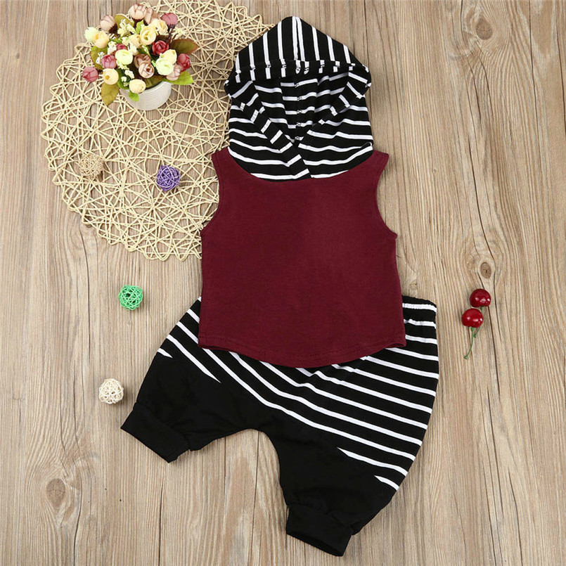 The new fashion cute design Toddler Kids Baby Boy Hooded Vest Tops+Shorts Pants 2pcs Outfits Clothes Set #4A08 (18)