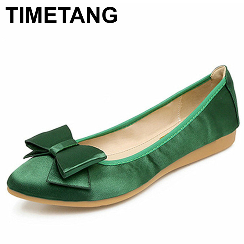 TIMETANG NEW Spring Ladies Shoes 2018 Big Size 33-42 Women's Ballet Flats Casual Flat Shoes For Women Fashion Point Toe C093 2017 womens spring shoes casual flock pointed toe narrow band string bead ballet flats flat shoes cover heel women flats shoes