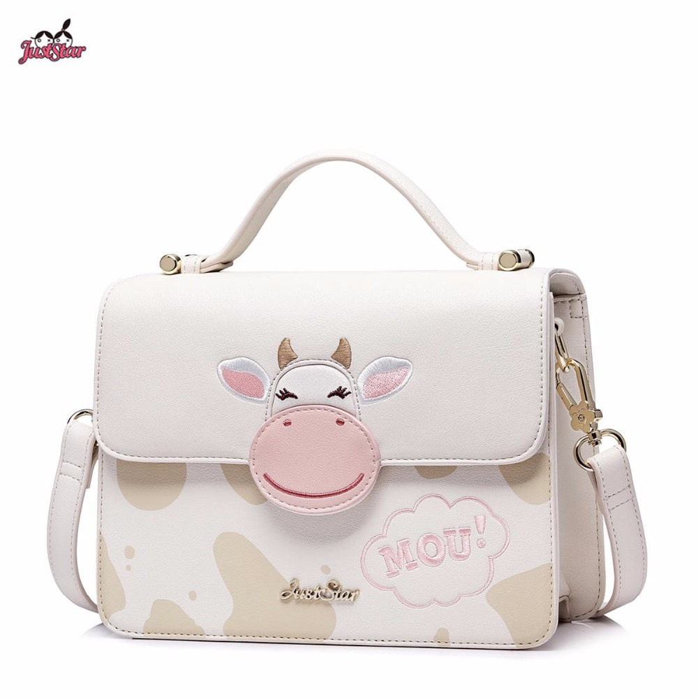 Just Star Brand New Design Adorable Cows PU Leather Women Handbag Ladies Girls Shoulder Cross body Small Flap Bag just star brand new design fashion mermaid printing pu leather women ladies handbag girls shoulder bag cross body boston bag