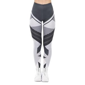 Image 3 - High Quality Women Legging Dark Gray Stripes Printing Fitness Leggings Fashion High Waist Woman Pants