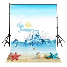 5x7ft Summer Style Backdrop Hot Ocean Ice Cubes Cool Photography Background and Studio Props