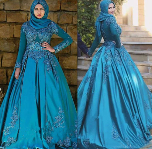 Ice Blue Color Long Sleeves Lace Satin Muslim Wedding Dresses With
