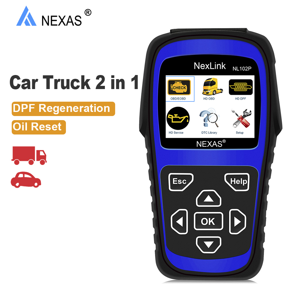 Nexas NL102P OBD Auto Car Truck  2 in 1 Automotive Scanner Engine Oil Service DPF Reset for Heavy Duty Truck ODB Diagnostic ToolNexas NL102P OBD Auto Car Truck  2 in 1 Automotive Scanner Engine Oil Service DPF Reset for Heavy Duty Truck ODB Diagnostic Tool
