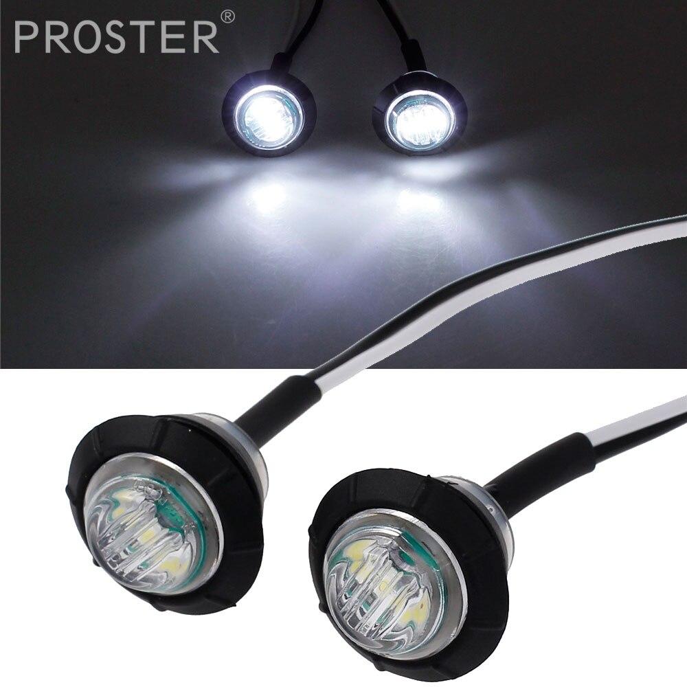 Proster 4 pcs 12V White Led Light Bulbs Super Bright 3 LEDs Side Marker Light Indicator Lamp For Truck Trailer Caravan