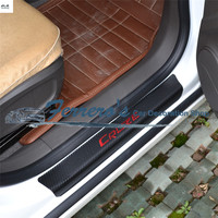 4pcs/lot car styling sticker carbon fiber grain PU leather door sill decorative cover for 2015 2016 2017 Chevy Chevrolet Cruze