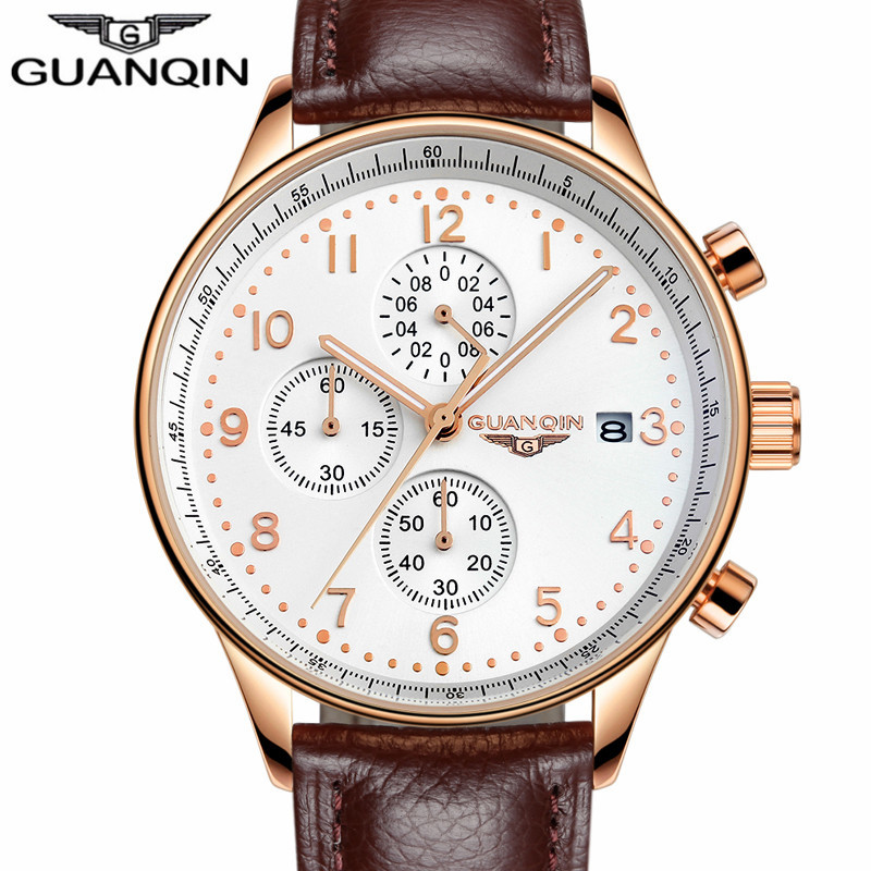 GUANQIN Mens Watches Top Brand Luxury  Men Military Sport Luminous Wristwatch Chronograph Leather Quartz Watch relogio masculino relogio masculino mens watches top brand luxury senors men military sport luminous wristwatch chronograph leather quartz watch
