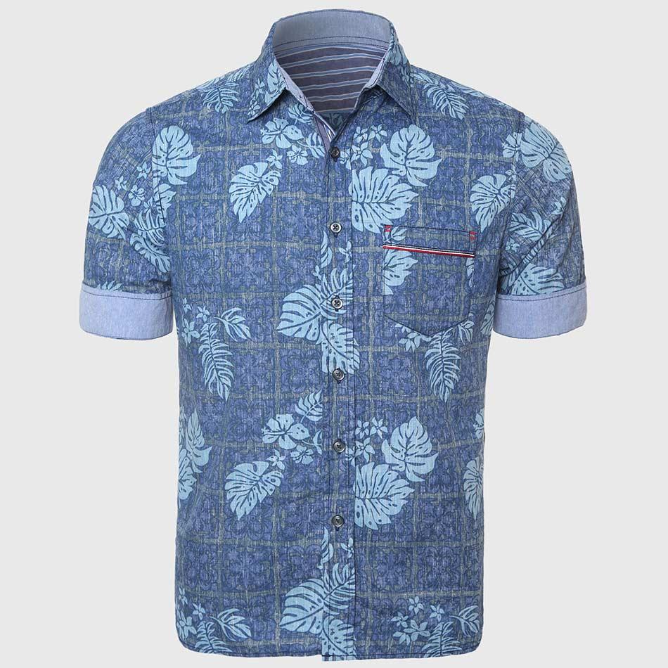 Casual hawaiian shirts men cotton linen floral shirt short for Patterned dress shirts for men