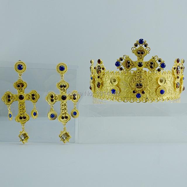HG171 Baroque piece bridal wedding tiara jewelry set crown luxury pearl necklace earrings wedding accessories jewellery gold