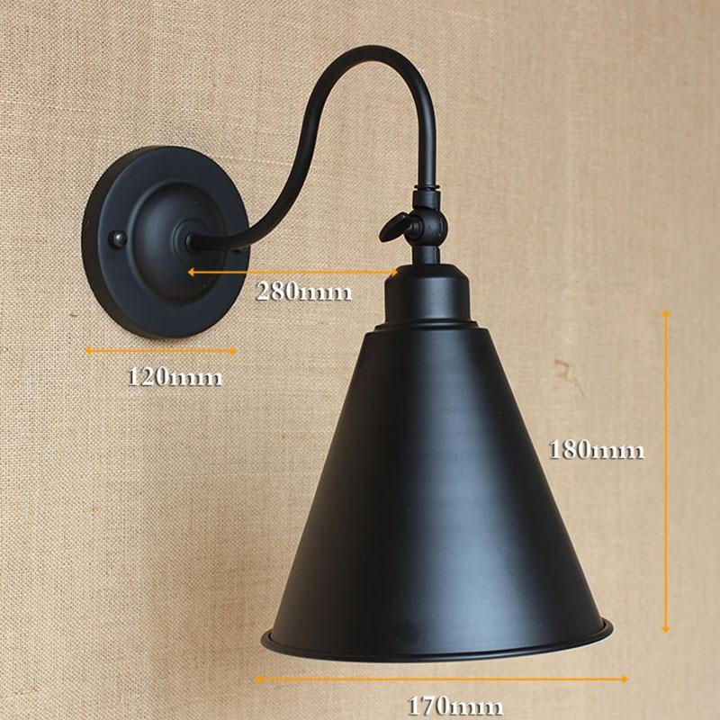 Zeitgenössische Retro Vintage LOFT BLACK Edison Metall Wandleuchte - Innenbeleuchtung - Foto 5
