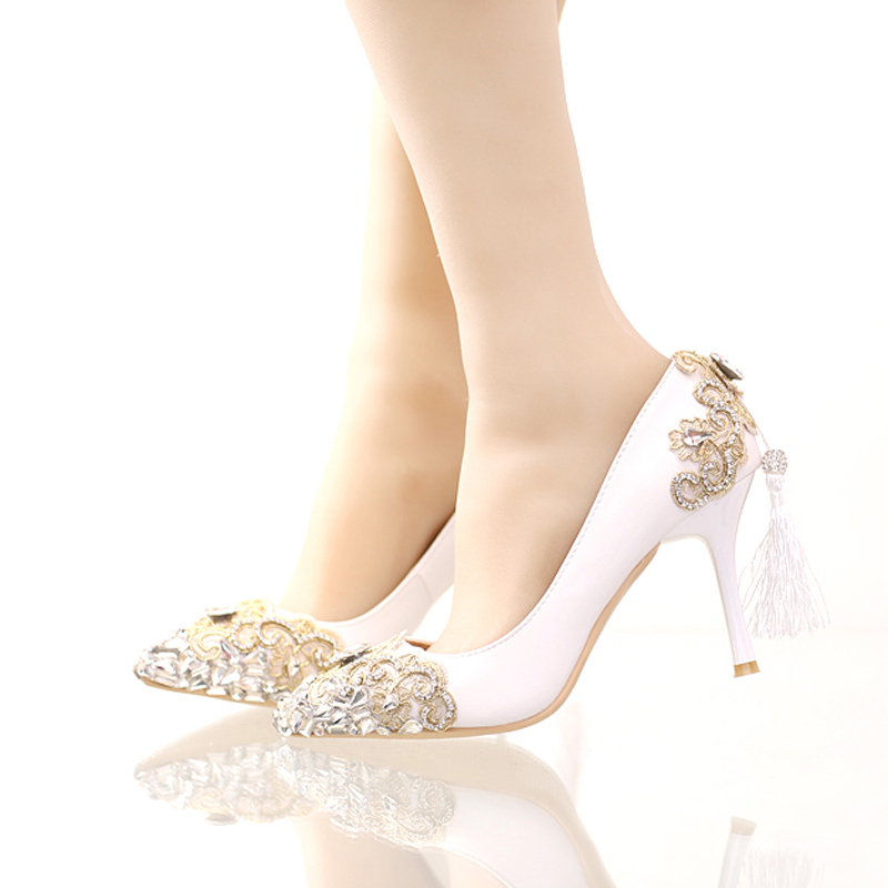 ФОТО White Color Rhinestone Bridesmaid Shoes High-heeled Lace Thin Heels Shoes Pumps Pointed Toe Women's Shoes Wedding Party Shoes