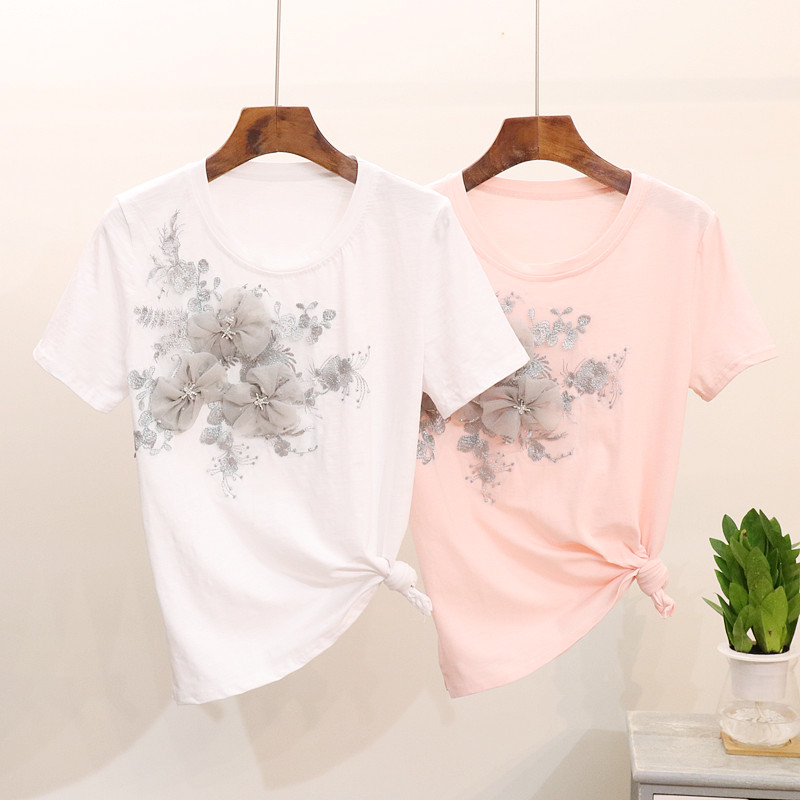 Blouses for Women,Womens Tops Long Sleeve Rose Embroidery Applique Sweatshirt O-Neck Pullover Top Blouse