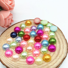 8mm Mix Color 1000Pcs/Lot Flatback Half Pearl Craft Beads Pearls Meia Perola Scrapbooking Material Manualidades Decoration Bead(China)
