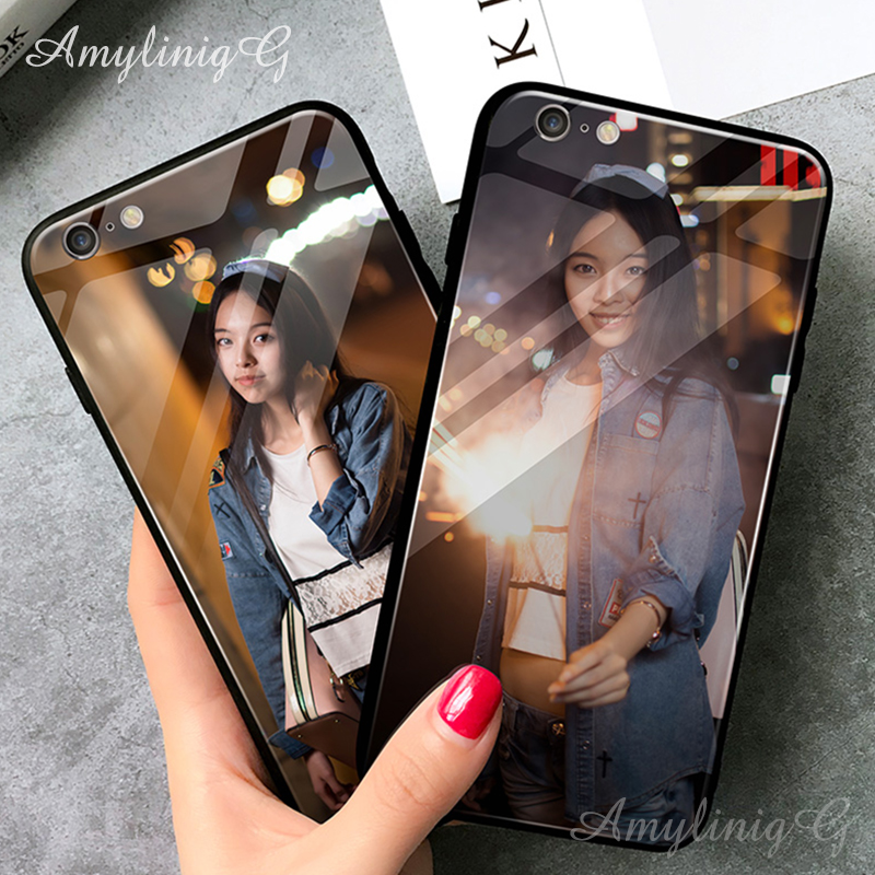 Customized DIY Tempered Glass <font><b>Case</b></font> For Apple <font><b>iPhone</b></font> X XS max XR 7 8 Plus 5S 11 Pro Max Print images Name Photo <font><b>Logo</b></font> Cover Shell image
