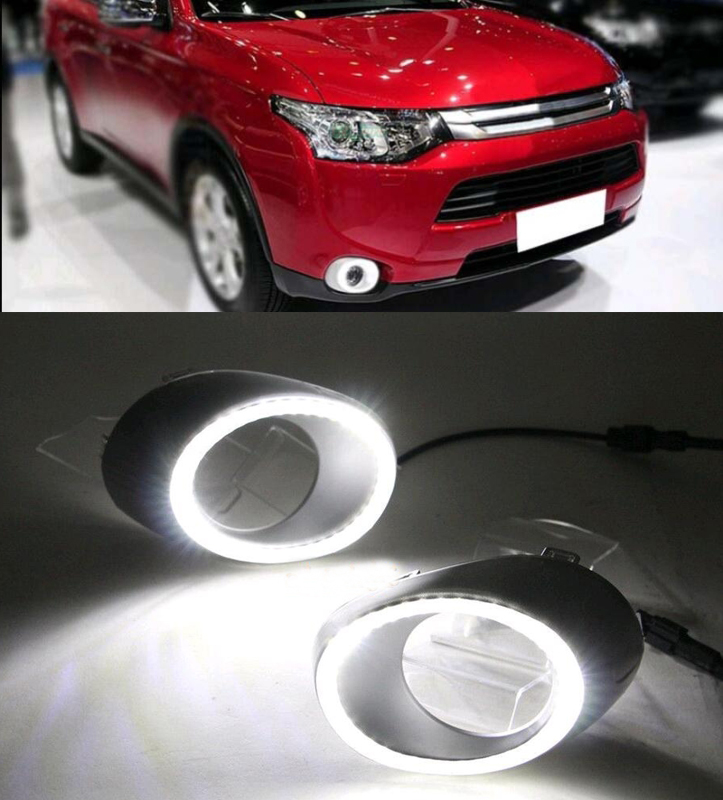 ФОТО Function Relay Waterproof 12V Car LED DRL Daytime For Mitsubishi Outlander 2013 2014 2015,unning Light Daylight