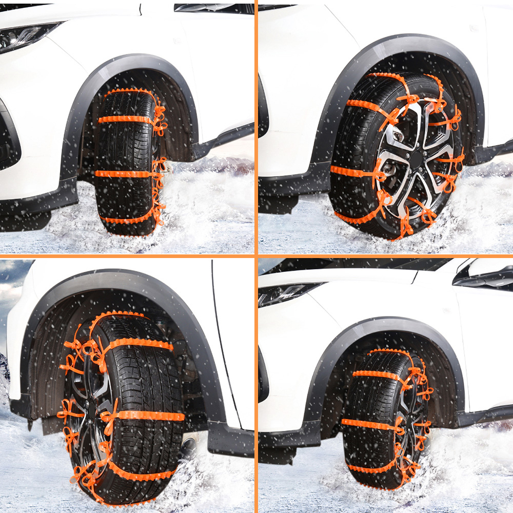 10pcs Universal Snow Chains Car Tyre Anti-skid Tpu Chains For Road Safety Suitable For Suv, Truck, And Off-road Vehicle Top Watermelons