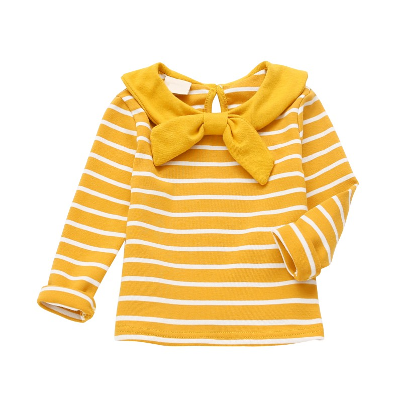 Newborn Baby Kids Girl Long Sleeve Striped T-Shirt Tops Spring Children Girls Bowknot Cotton Tee Shirt 1-5T Newest lace panel long raglan sleeve striped t shirt