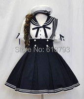cosplay gothic lolita sailor dress customized costume lovely clothes school uniform navy sailor Dresses free shipping