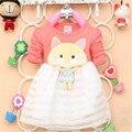 Menina de Vestido dos desenhos animados de algodão bonito Vestido Vestido Infantil Menina moda outono Vestido de manga comprida
