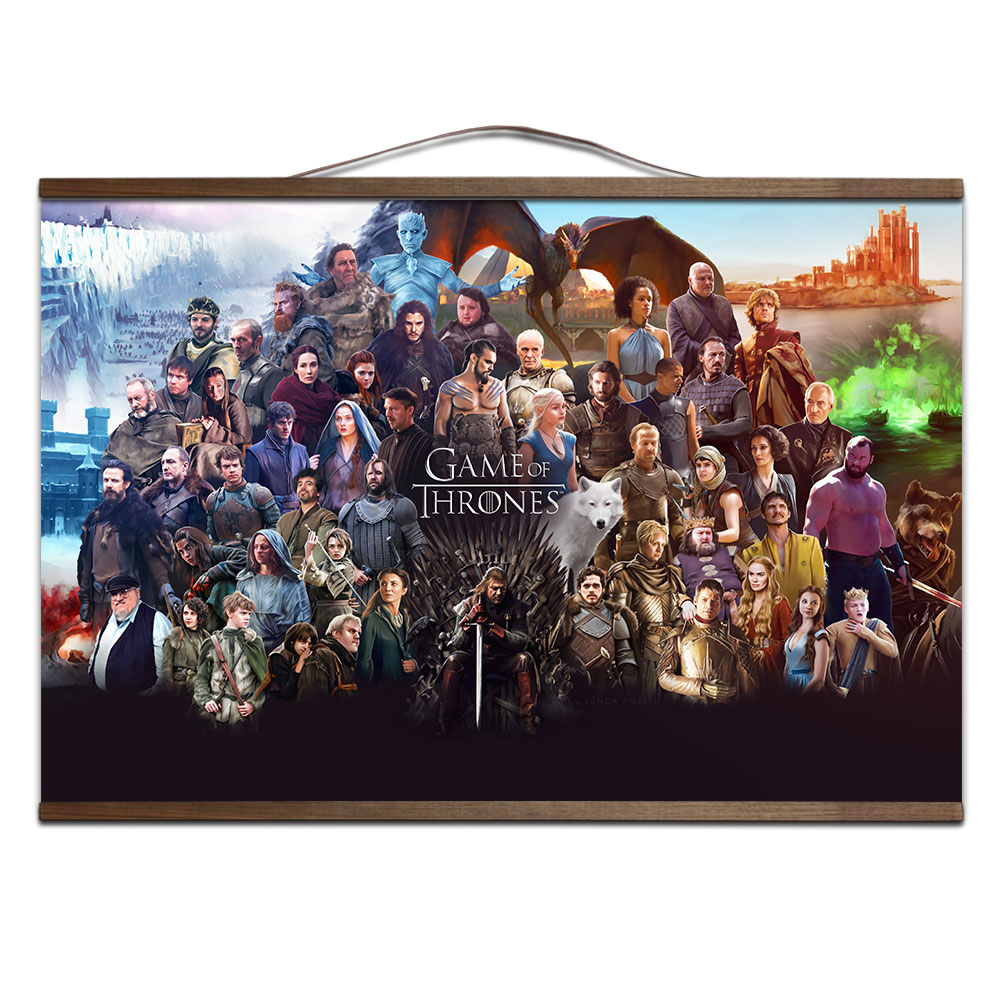 Game of Thrones All Characters poster for HD canvas poster decoration painting TV play prints posters with solid wood