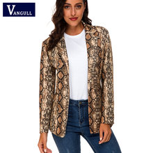 Vangull Women England Style Snake Print jacket 2019 New Spring Pockets Notched Collar Fashion Long Sleeve Coat Female Outerwear(China)