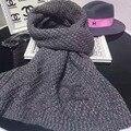 Марка высокого качества женщин мода сгущает мягкая шерсть плед шарф двухсторонний Шарф платки шерстяные Жаккардовые
