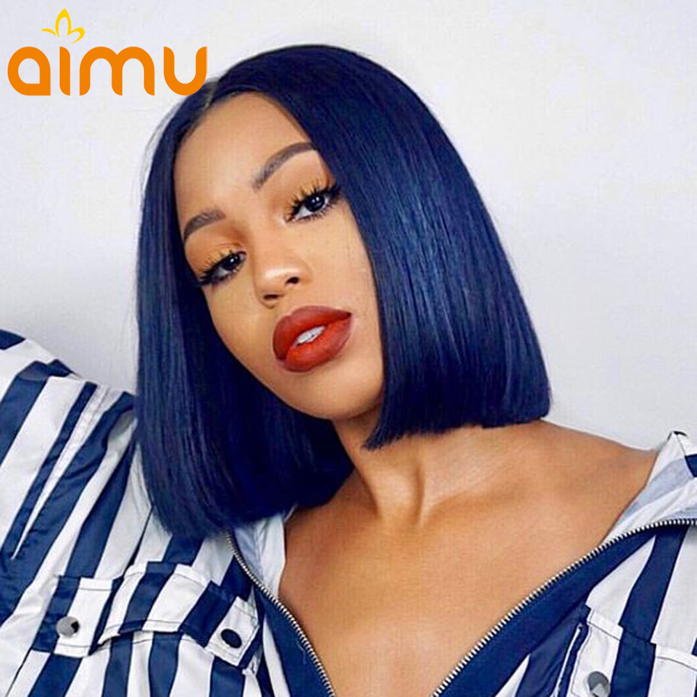 Generous Pre Plucked Blue Lace Front Wig With Baby Hair Middle Part Straight Brazilian Remy Short Human Hair Bob Wigs For Black Women Beautiful In Colour