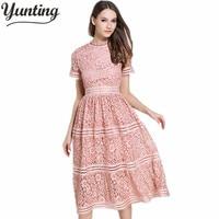 Yunting 2017 Spring And Summer Runway Designer Dress Women S Luxury Brand Short Sleeve Lace Dress