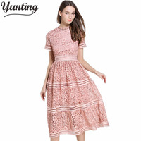 Yunting 2017 Spring And Summer Runway Designer Dress Women S Luxury Brand Short Sleeve Lace Dress