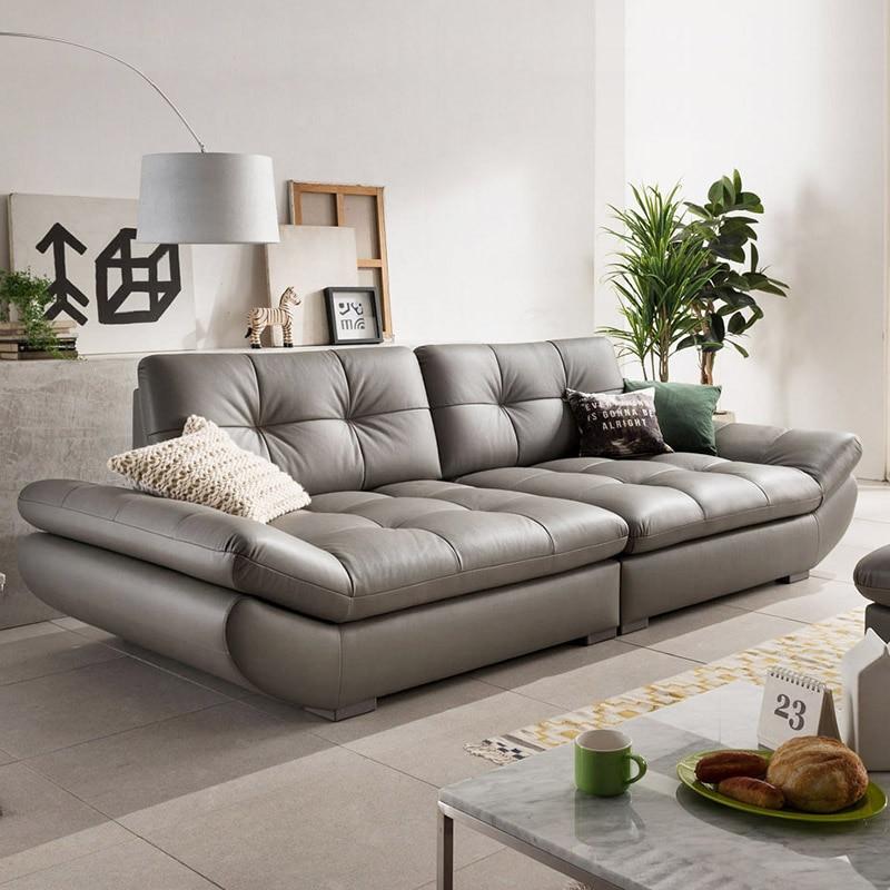 US $949.05 5% di SCONTO|In vera pelle divano componibile soggiorno divano  ad angolo mobili per la casa divano schienale 4 seater funzionale stile ...