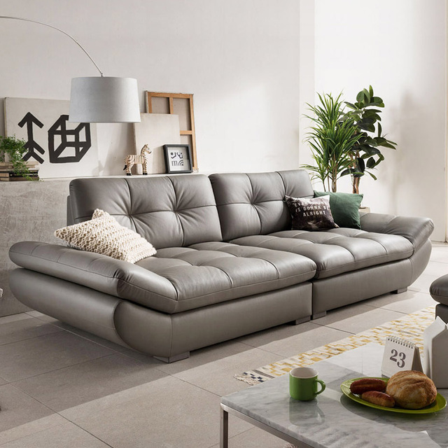 Genuine Leather Sofa Sectional Living Room Corner Home Furniture Couch 4 Seater Functional Backrest
