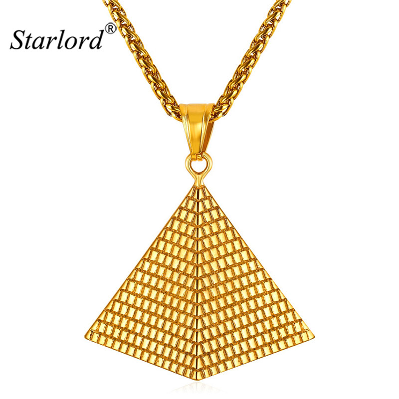Illuminati Pyramid Necklaces for Women/Men Fashion Gold Color Stainless Steel Charm Necklace Egyptian Jewelry GP2389